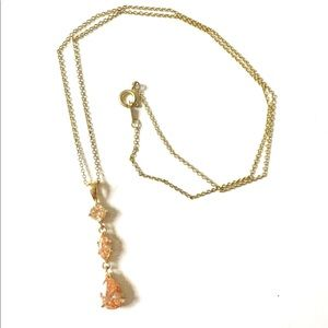 ROMAN Peach Gold Crystal Necklace